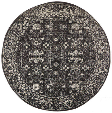 Simple Style Co: Estella Transitional Round Rug Charcoal | Shop Rugs