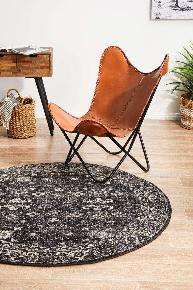Estella Charcoal Transitional Round Rug - Simple Style Co