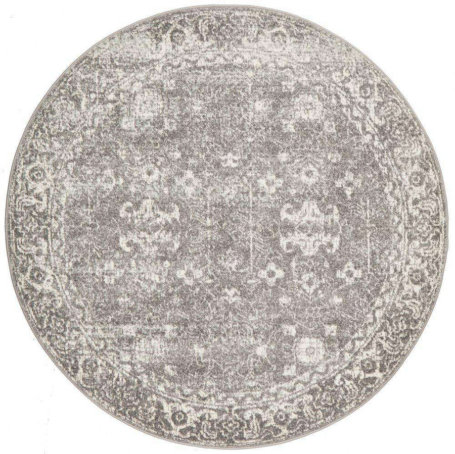 Estella Grey Transitional Round Rug - Simple Style Co