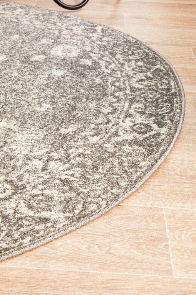 Estella Transitional Round Rug - Grey