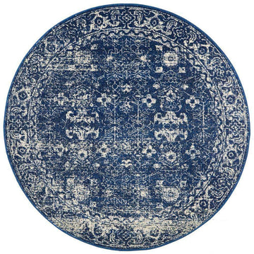 Estella Navy Transitional Round Rug - Simple Style Co