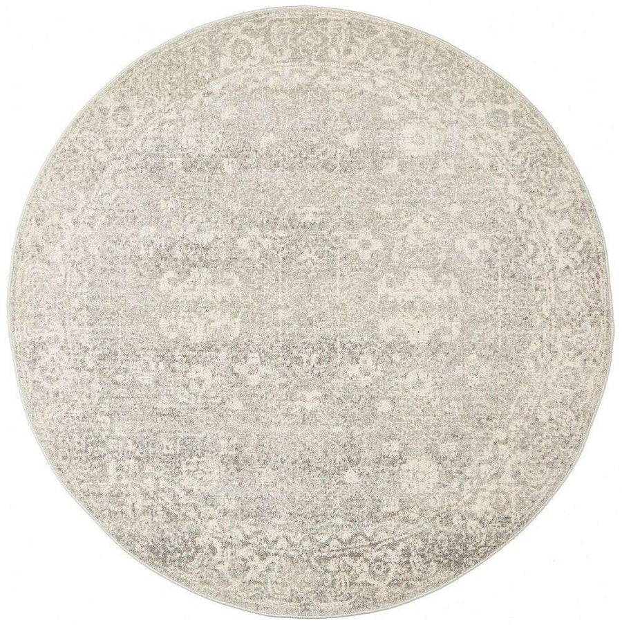 Estella Silver Transitional Round Rug - Simple Style Co
