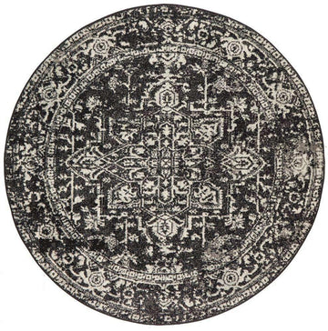 Valera Transitional Black Round Rug - Simple Style Co