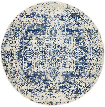 Valencia Blue Transitional Round Rug - Simple Style Co