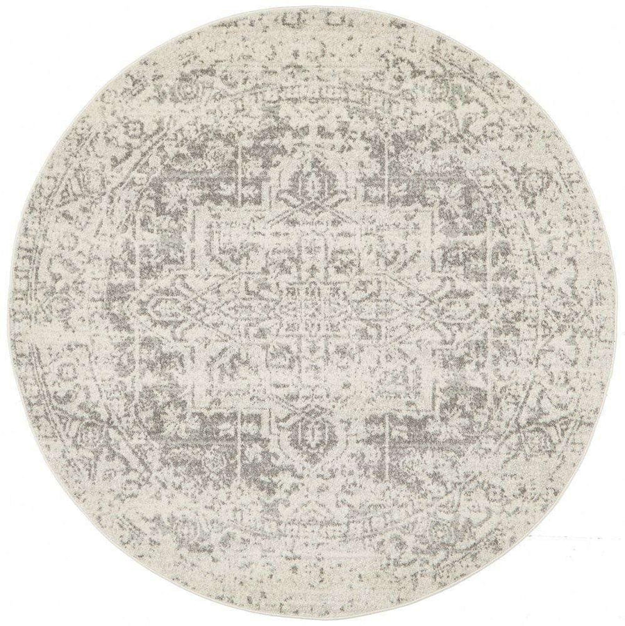 Bafra Distressed Grey & Ivory Transitional Round Rug - Simple Style Co