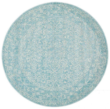 Florencia Blue Transitional Round Rug | Simple Style Co