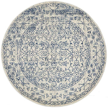 Formosa White Grey & Blue Transitional Round Rug - Simple Style Co