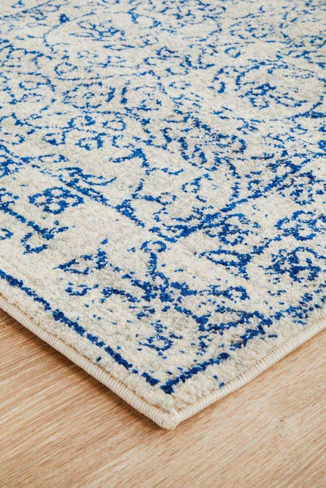 Formosa White Grey & Blue Transitional Runner Rug - Simple Style Co