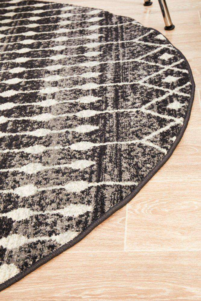 Gediz Black Transitional Round Rug - Simple Style Co
