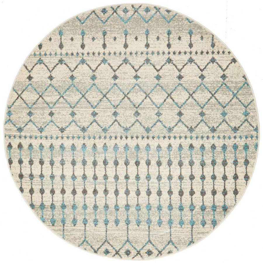 Gediz White Grey & Blue Transitional Round Rug - Simple Style Co