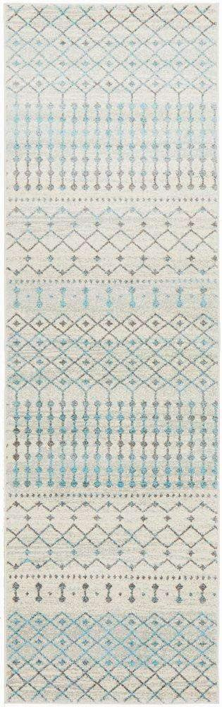Gediz White Grey & Blue Transitional Runner Rug - Simple Style Co