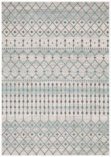 Gediz White Grey & Blue Transitional Rug - Simple Style Co