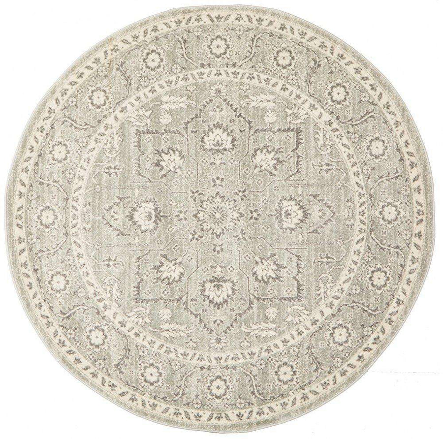 Verda Transitional Round Rug Silver - Simple Style Co