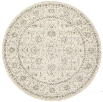 Verda White Transitional Round Rug | Buy Rugs Online
