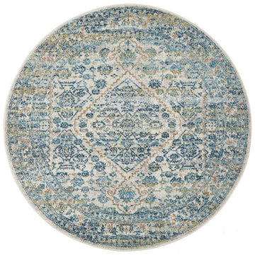 Rimini Blue & Grey Transitional Round Rug - Simple Style Co