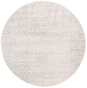 Bodrum Grey & Ivory Distressed Diamond Round Rug - Simple Style Co