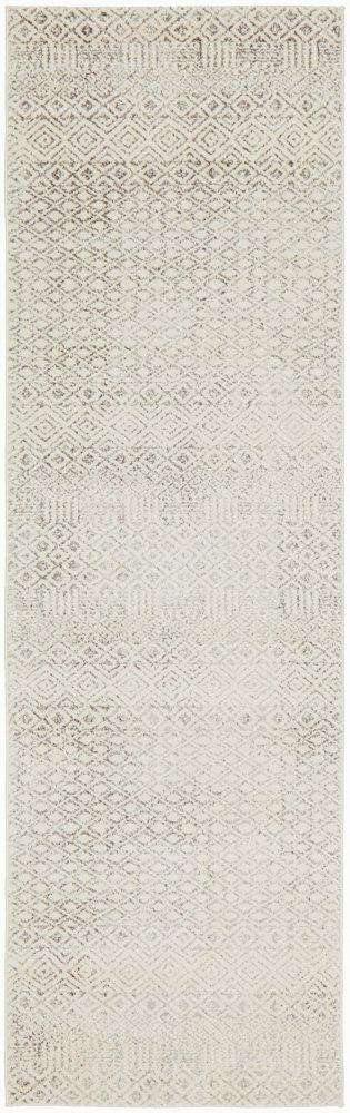 Bodrum Grey & Ivory Distressed Diamond Runner Rug - Simple Style Co