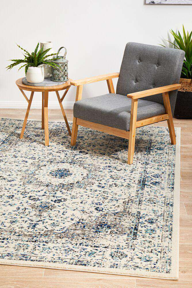 Sivas Ivory & Blue Distressed Transitional Rug - Simple Style Co