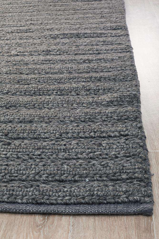 Mandurah Charcoal Wool Rug - Simple Style Co