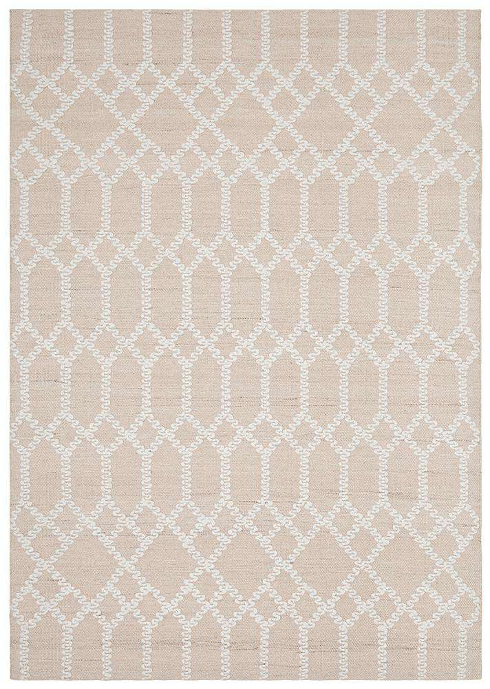 Krisha Tribal Trellis Rug Nude | Eco Friendly Rugs | Bohemian Rugs | Coastal Rugs