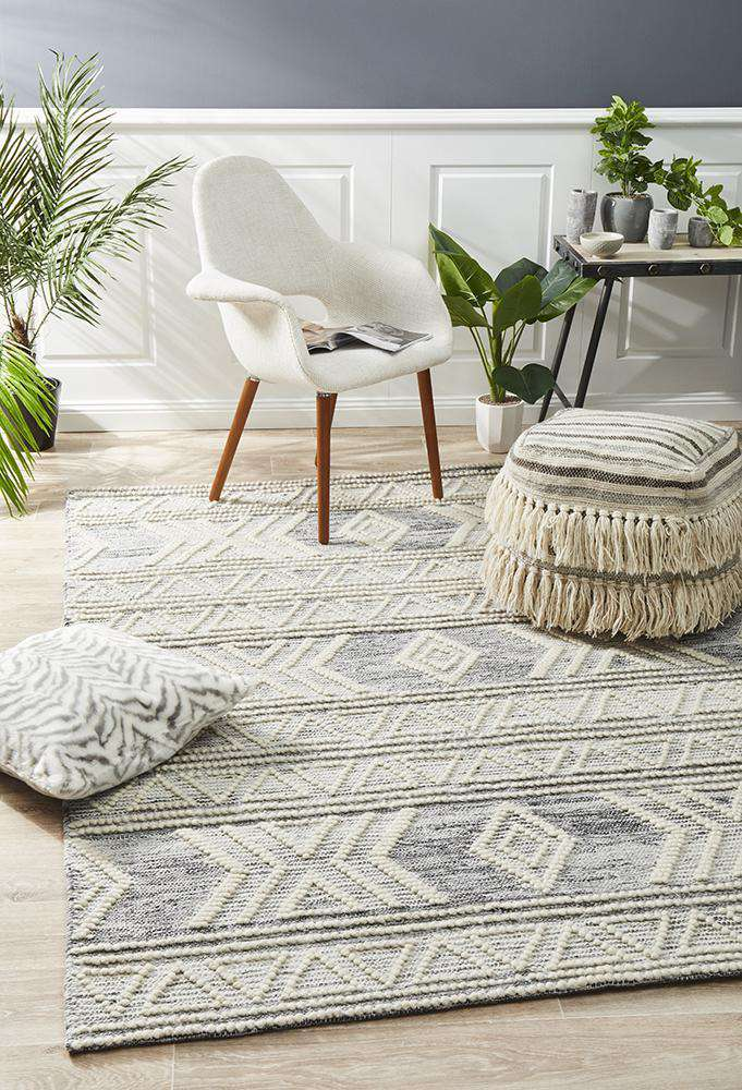 Esha Woven Tribal Rug Silver | Tribal Rugs | Modern Rugs | Simple Style Co