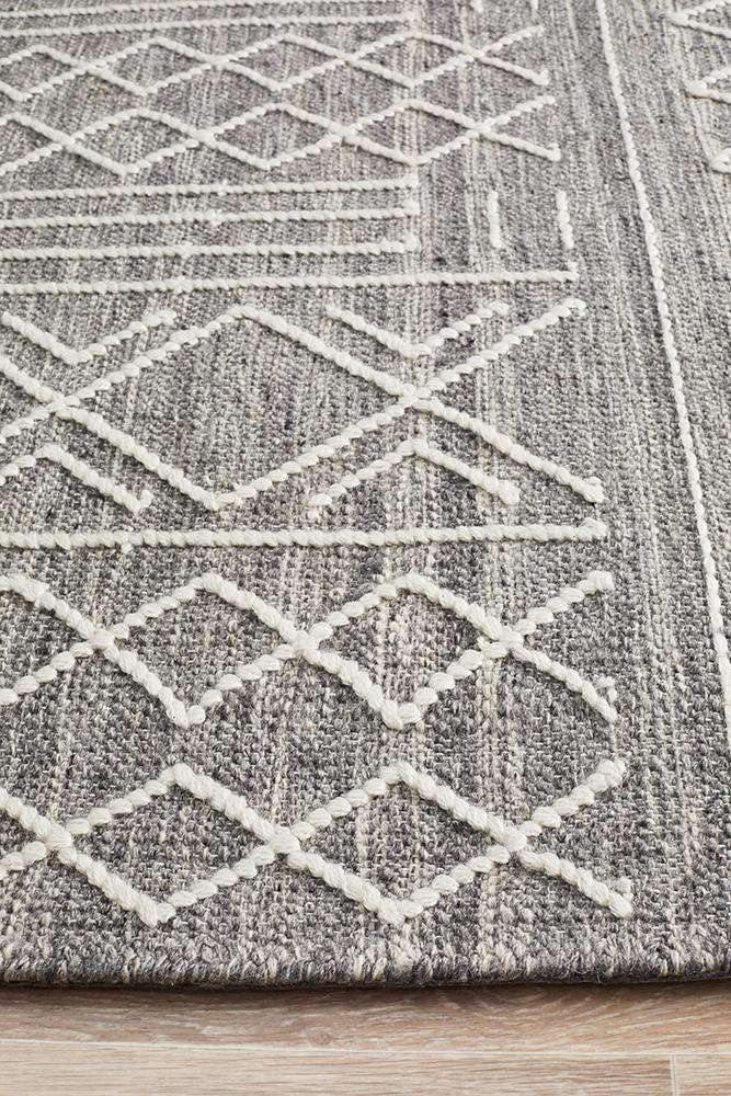 Arya Grey Stitch Woven Wool Rug - Simple Style Co