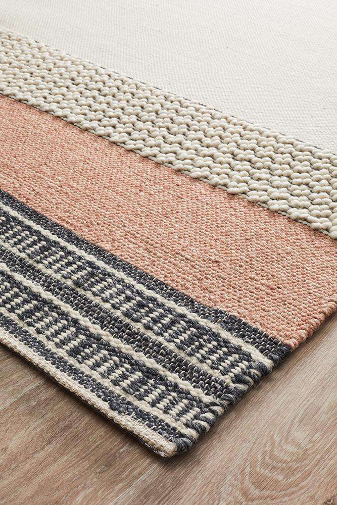 Elche Peach Textured Wool Rug - Simple Style Co