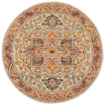 Alara Rust Transitional Round Rug - Simple Style Co