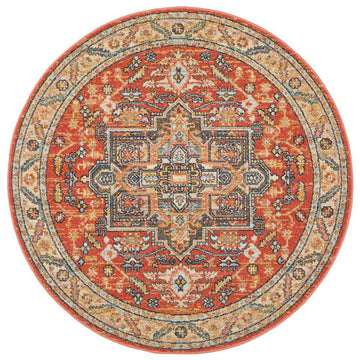Elmas Terracotta Tribal Round Rug - Simple Style Co