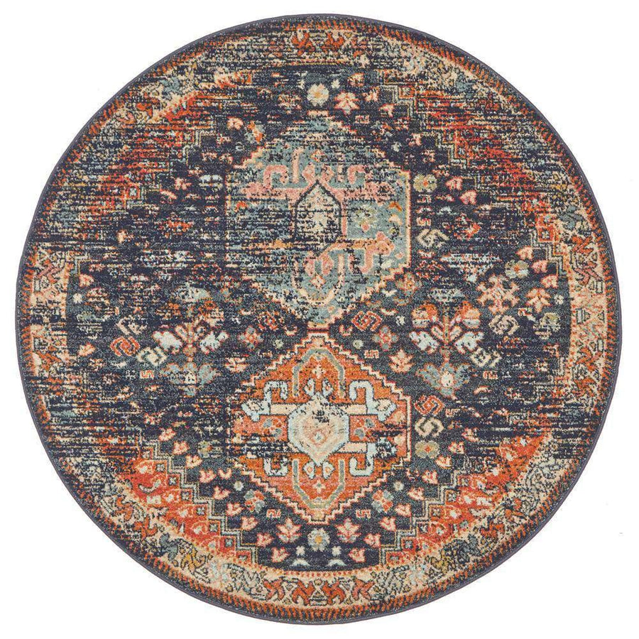 Talora Navy Tribal Round Rug - Simple Style Co