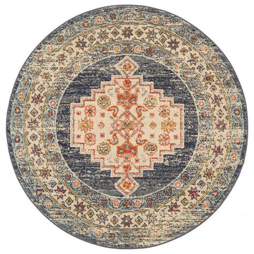 Nylah Navy Tribal Round Rug - Simple Style Co