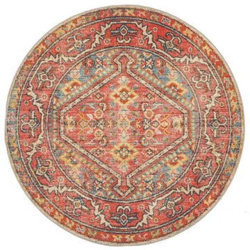 Zora Red Tribal Round Rug - Simple Style Co