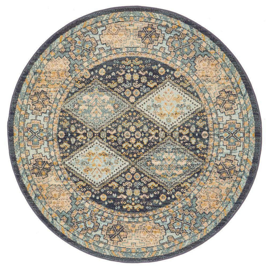 Legacy 857 Navy Round Rug - Simple Style Co