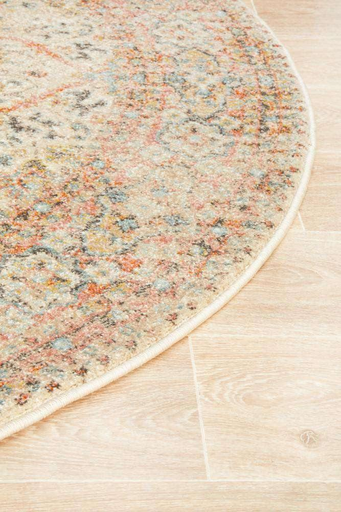 Zahra Distressed Floral Round Rug - Simple Style Co