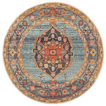 Lola Distressed Transitional Round Rug - Simple Style Co