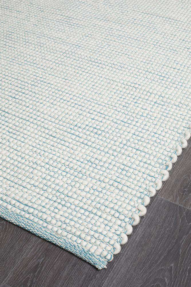 Brooklyn Turquoise Blue Wool Rug - Simple Style Co