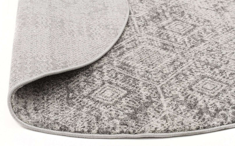 Kalkan Transitional Round Rug - Silver Grey
