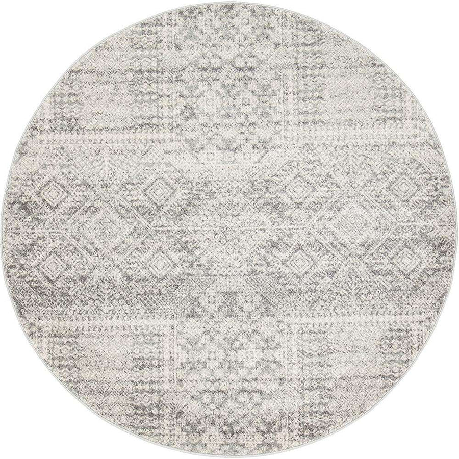 Kalkan Transitional Round Rug - Silver Grey - Simple Style Co