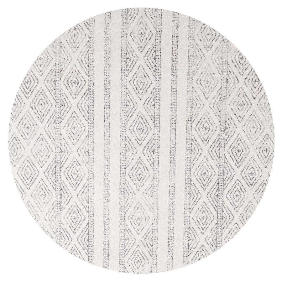 Salma White And Grey Tribal Round Rug - Simple Style Co
