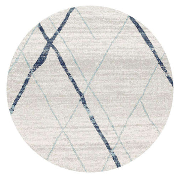Noah White Blue Contemporary Round Rug - Simple Style Co