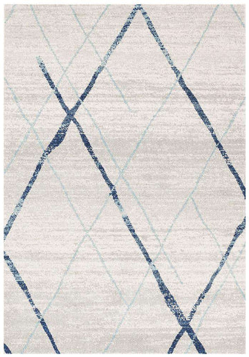 Noah White Blue Contemporary Rug - Simple Style Co