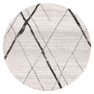 Noah White Grey Contemporary Round Rug - Simple Style Co