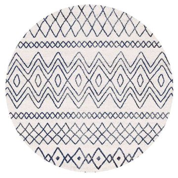 Nadia White Blue Rustic Tribal Round Rug - Simple Style Co