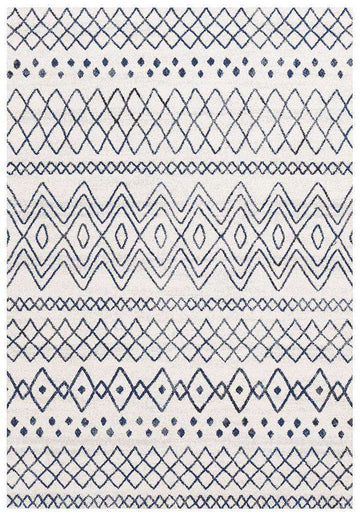 Nadia White Blue Rustic Tribal Rug - Simple Style Co