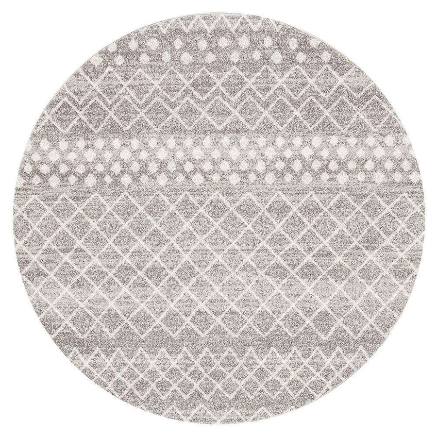 Selma Silver Tribal Round Rug - Simple Style Co