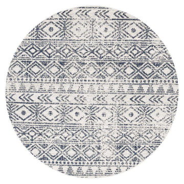 Ismail White Blue Tribal Round Rug - Simple Style Co