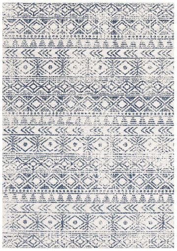 Ismail White Blue Tribal Rug - Simple Style Co