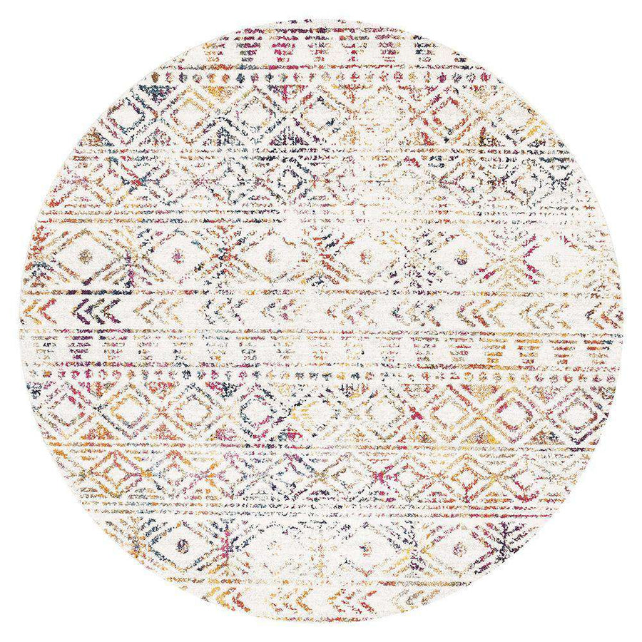 Ismail Multi Coloured Tribal Round Rug - Simple Style Co