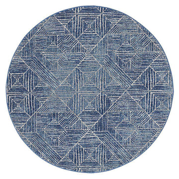 Kenza Navy Tribal Diamond Round Rug - Simple Style Co