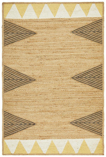 Electra Yellow & Black Jute Rug - Simple Style Co